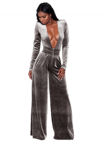 Fashion Deep V Neck Long Sleeve Solid Color Jumpsuit