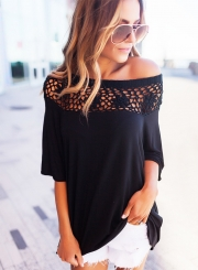 Off Shoulder Half Sleeve Lace Panel Pullover Blouse