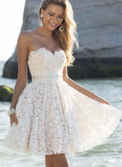 Elegant Strapless Lace A-line Cocktail Dress STYLESIMO.com
