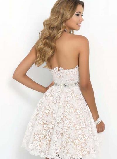 Elegant Strapless Lace A Line Cocktail Dress