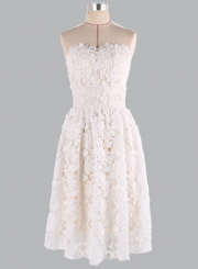 Elegant Strapless Lace A-line Cocktail Dress