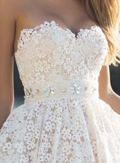 Elegant Strapless Lace A-line Cocktail Dress stylesimo.com