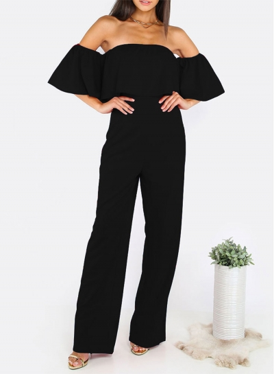 Off Shoulder Short Sleeve Ruffle Solid Jumpsuit