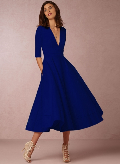 Fashion V Neck Half Sleeve Solid Color Dress