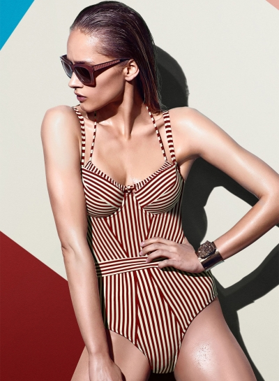 Striped One Piece Slim Fit Swimsuit
