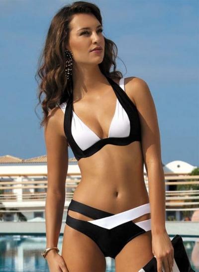 2 Piece Color Block Bandage Bikini Set