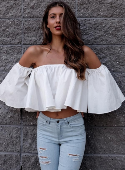 Off Shoulder Loose Fit Ruffle Blouse