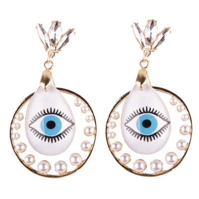 Fashion Novelty Eyes Patterned Drop Earrings