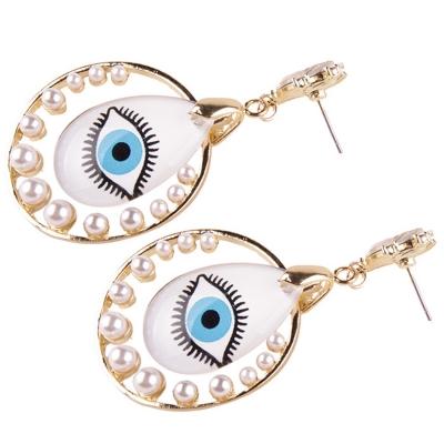 Fashion Novelty Eyes Patterned Drop Earrings stylesimo.com