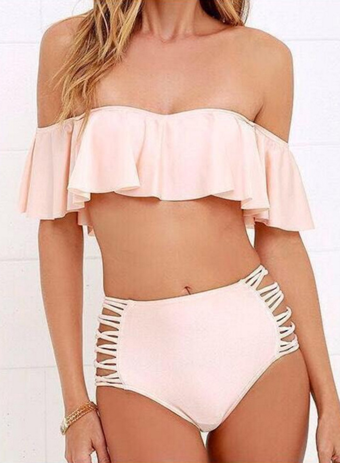 Women Slash Neck Single Shoulder Short Sleeve Solid 2-piece Bikini Swimsuit Set