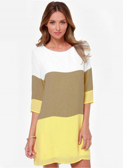 3/4 Sleeve Color Block Pullover Dress