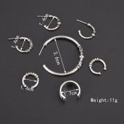 Fashion Alloy Circle Ring Seven Pieces Set Erarings