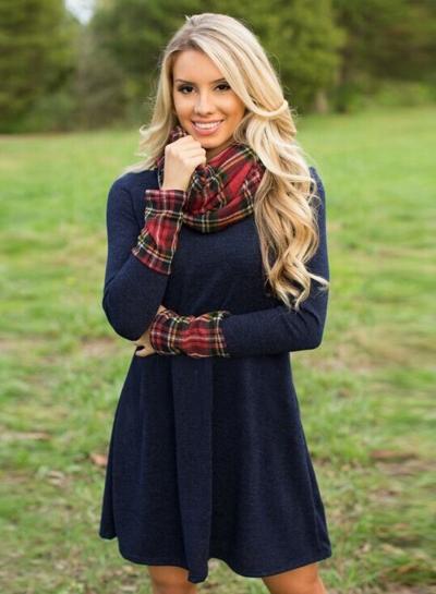 Fashion Turtleneck Long Sleeve Plaid Splicing Dress