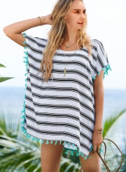 Fashion Stripe Loose Fit Beachwear with Tassel cover up