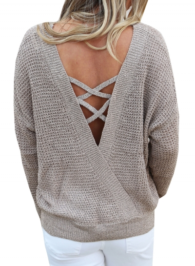 Fashion Round Neck Long Sleeve Back Cross Pullover Sweater