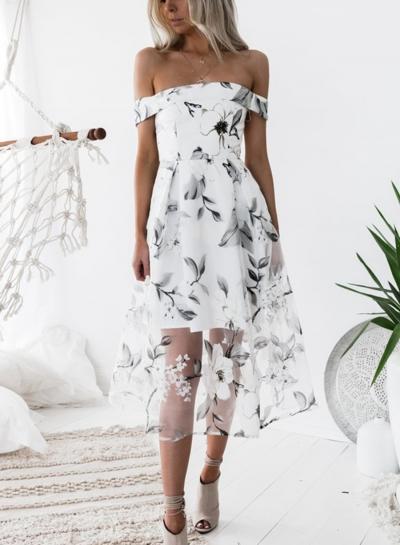 Fashion Slash Neck Floral Printed Net Yarn Splicing Dress