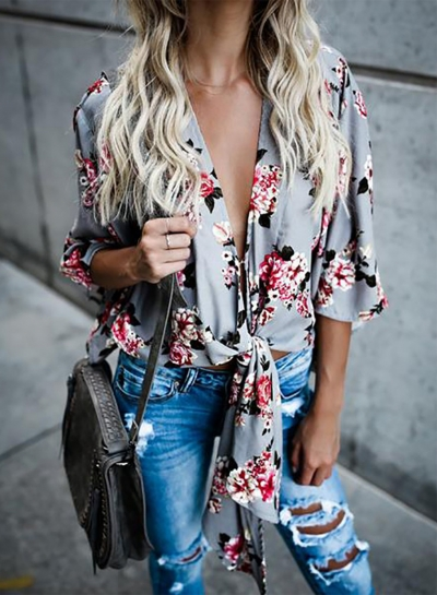 Elegant Deep V Neck Three Quarter Length Sleeve Floral Printed Blouse