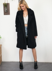 Fashion Turn Down Collar Long Sleeve Solid Color Faux Fur Coat