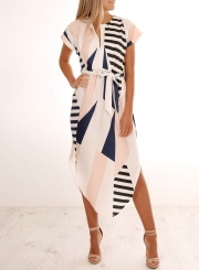 Fashion V Neck Short Sleeve Geometric Patterned Dress