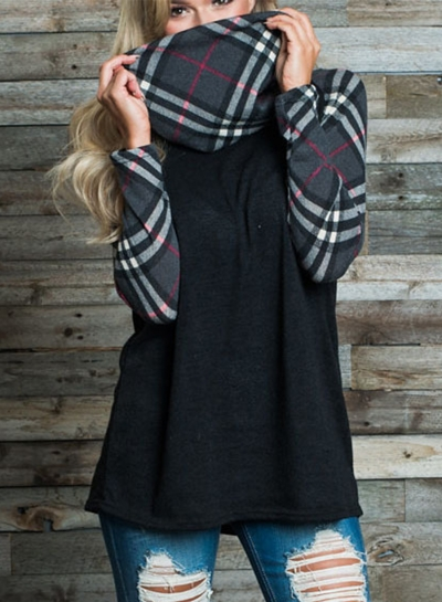 Fashion Turtleneck Long Sleeve Plaid Splicing Sweatshirt