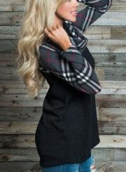 Fashion Turtleneck Long Sleeve Plaid Splicing Sweatshirt