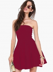 Fashion Strapless Off Shoulder Solid Color Dress