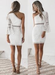 Fashion One Shoulder Solid Color Lace Dress