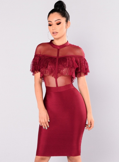 Elegant Lace Net Yarn Splicing Bodycon Solid Color Dress