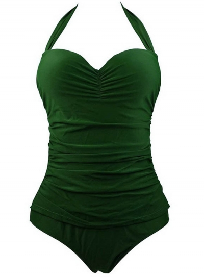 Fashion Halter Neck Sleeveless Backless Solid Color Swimwear