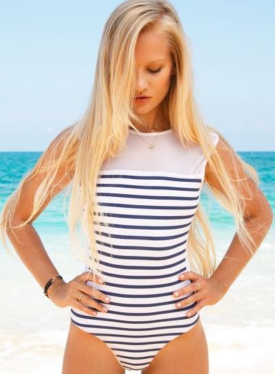 Fashion Backless Striped Splicing One Piece Swimwear