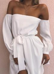 Sexy Slash Neck Long Sleeve Solid Color Dress