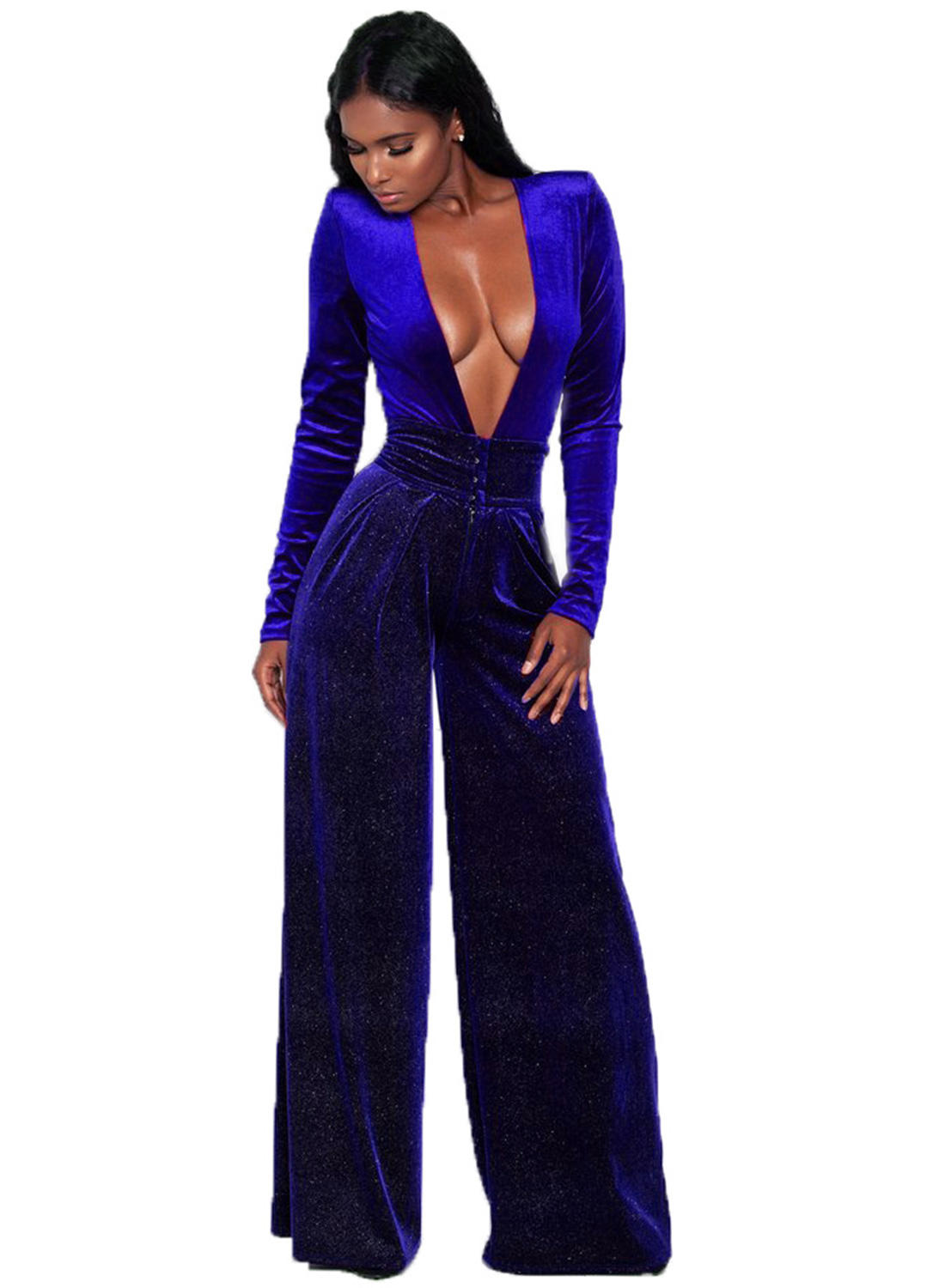 a43ec57b0c18 Fashion Deep V Neck Long Sleeve Solid Color Jumpsuit STYLESIMO.com. Loading  zoom