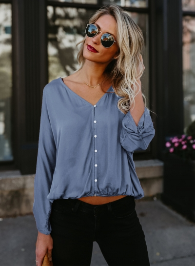Casual V Neck Long Sleeve Solid Color Blouse