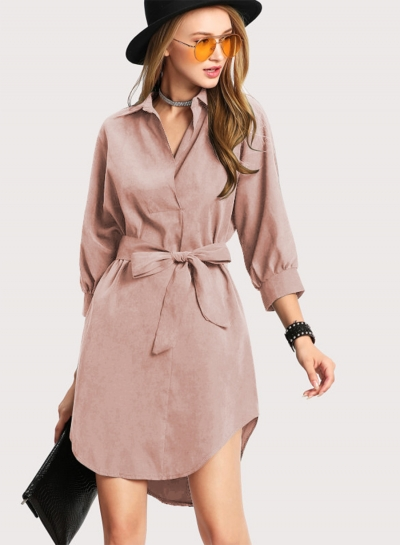 Fashion Turn Down Collar Long Sleeve Solid Color Dress