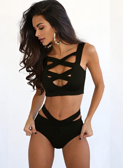 Solid Color Criss Cross Bandage Bikini Set