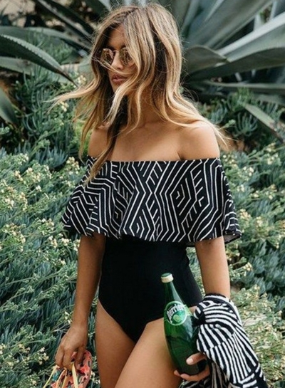 off the Shoulder Ruffle Geo Print One Piece Swimsuit