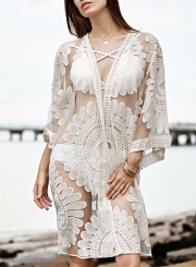 Open front Floral Lace Bikini Cover up Kimono Beachwear