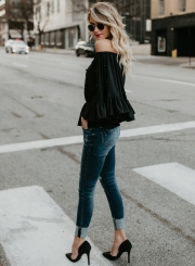 Fashion Off Shoulder Flare Sleeve Pearls Loose Blouse