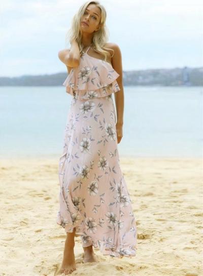 6d17c4a09b78c Halter Ruffle Floral Printed Maxi Boho Dress