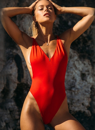 Fashion Deep V Neck Solid Color One Piece Swimwear