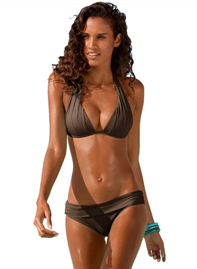 Fashion 2 Piece Solid Halter Bikini Set