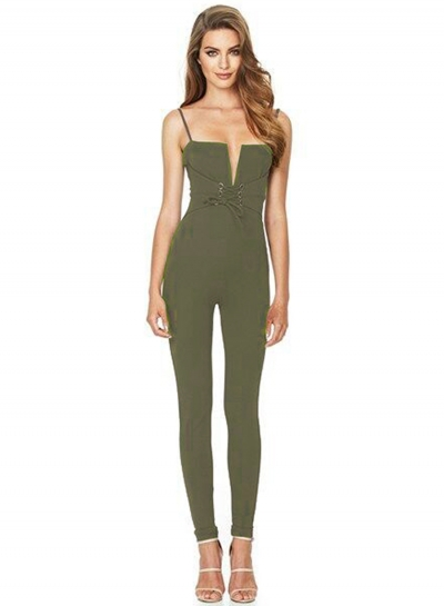Spaghetti Strap Lace-up Slim Fit Jumpsuit