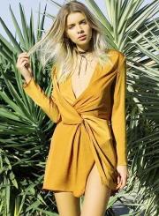 Deep V Neck Long Sleeve Slit Irregular Dress