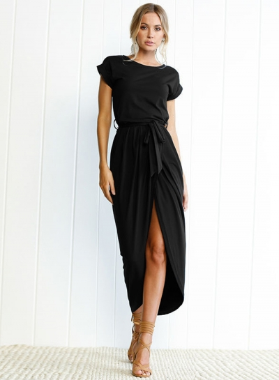 Short Sleeve Slit Maxi Dress with Belt