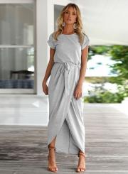 Short Sleeve Slit Maxi Dress with Belt