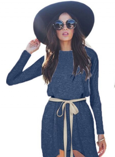 Casual Long Sleeve High Low Dress with Belt