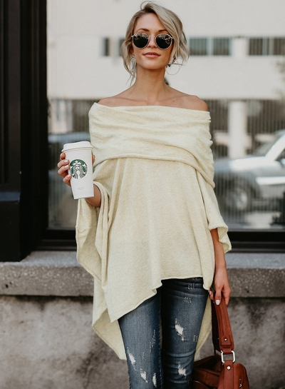 Fashion Off Shoulder Slit Irregular Loose Fit Tee