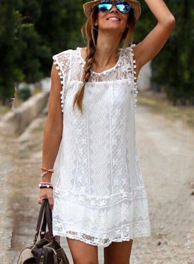 Sleeveless Lace Mini Dress STYLESIMO.com