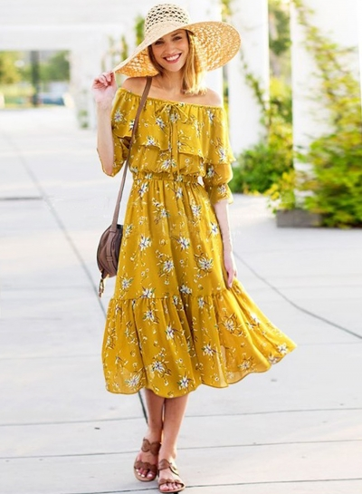 Boho Off Shoulder Ruffle Floral Printed Midi Dress
