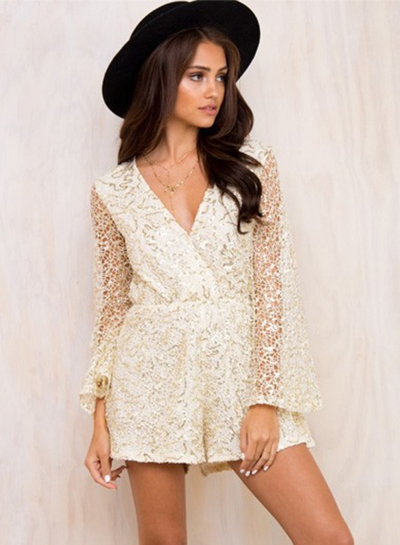 V Neck Flare Sleeve Lace Romper